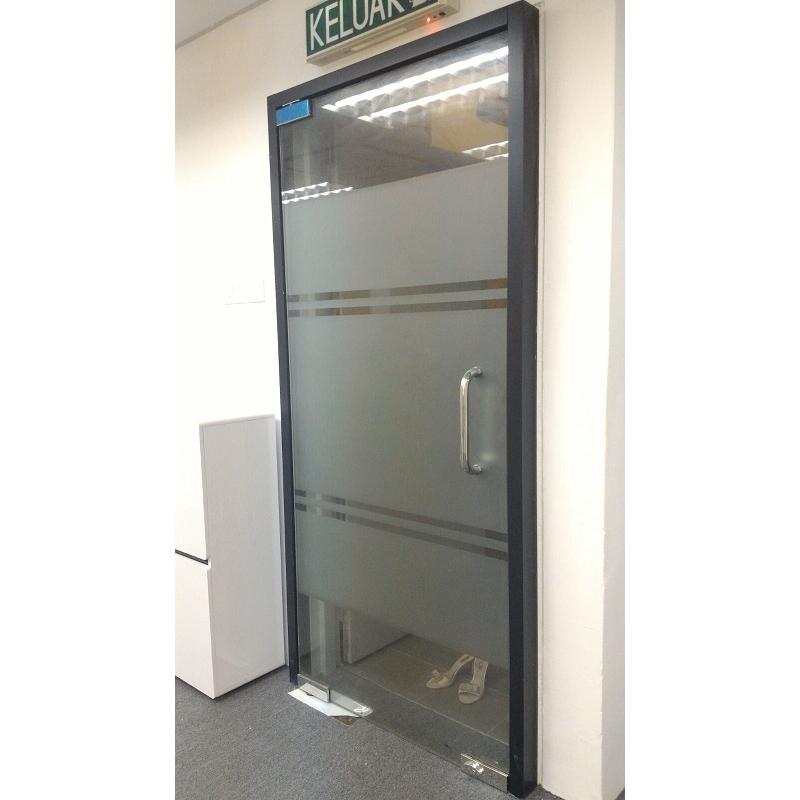 Frameless 12mm tempered glass door leading office for 12 pane door