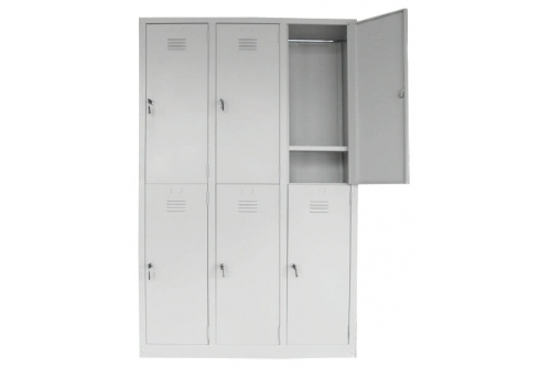 6 Compartments Steel Locker with Cloth Hanging