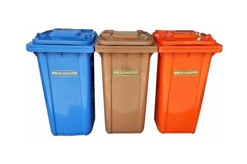 Schaefer Mobile Garbage Bin 2-Wheel ( 3 in 1 ) (Blue,Brown, Orange)