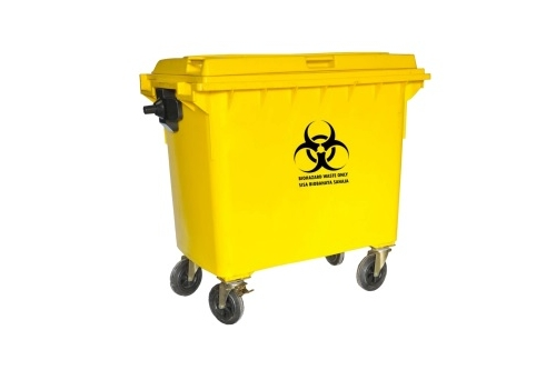 Biohazard Mobile Garbage Bin 4- Wheel -660liters
